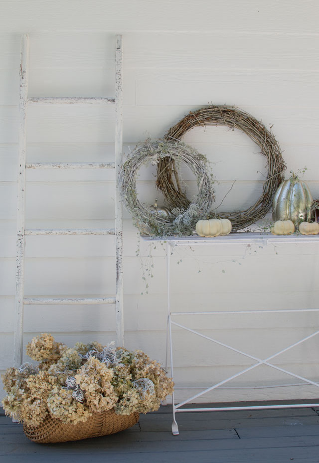 rustic white fall display