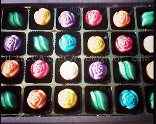 24pcs chocolate praline colourful rose