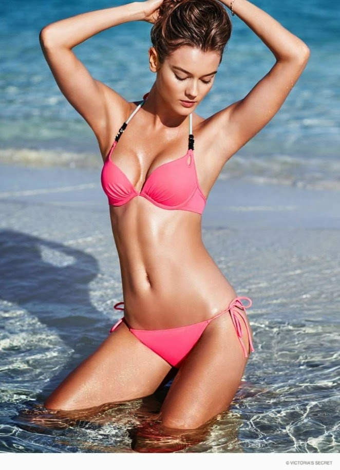 Jac Jagaciak wears skimpy swim styles for the Victoria's Secret Swim Lookbook 2015