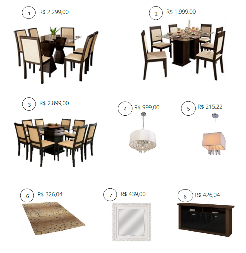 Móveis para decoração de sala de Jantar