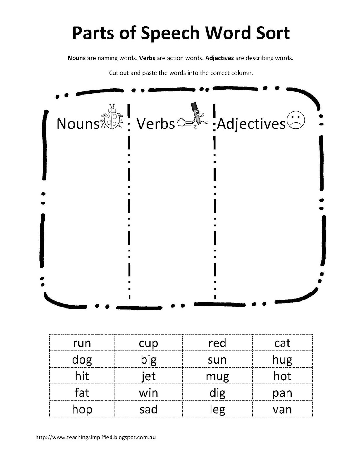Printables Free Parts Of Speech Worksheets teaching simplified free download parts of speech word sort sort