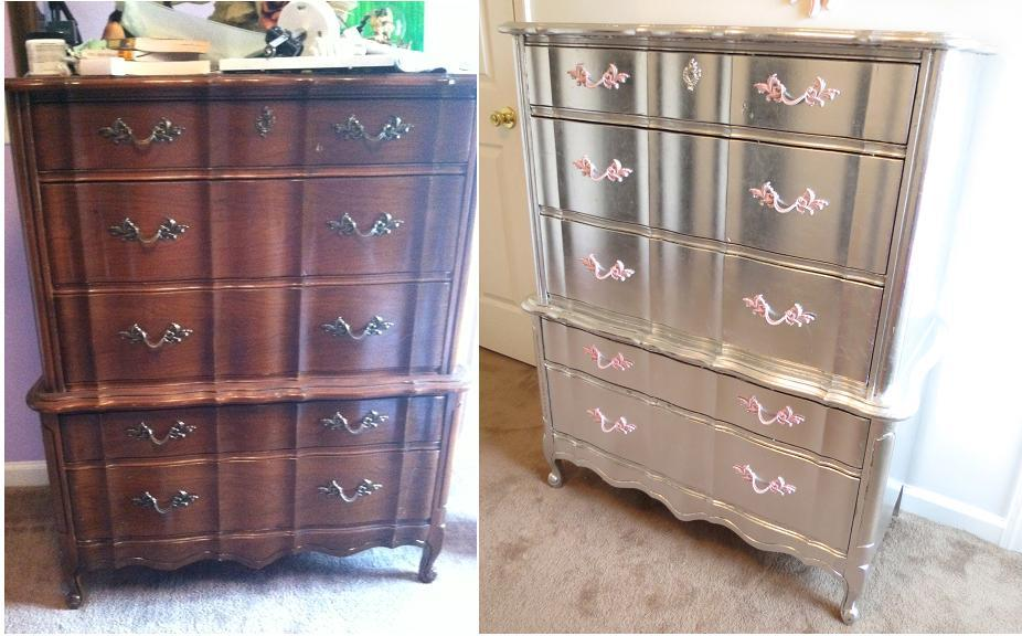 Metallic Painted Furniture Before and After