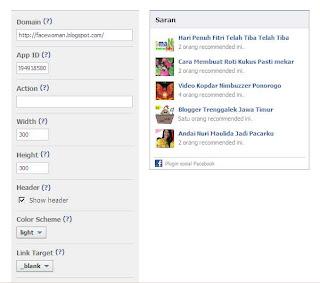 Cara membuat rekomendasi Bok Facebook di Blog
