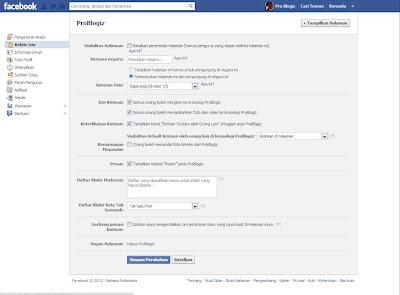 """halaman """"Kelola Izin"""" FB Page"""