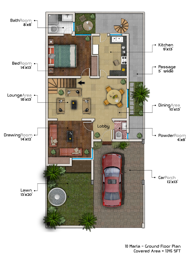 3 Marla House Map Drawing