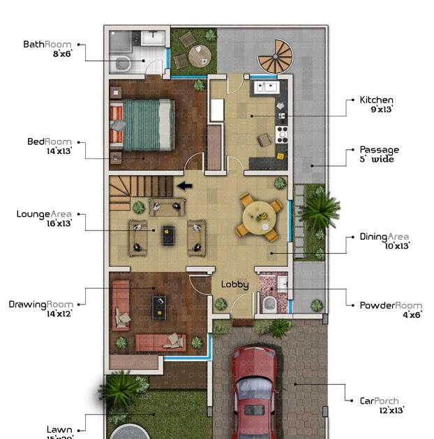 3D Front Elevation.com: 10 Marla Front Elevatioin & Plan