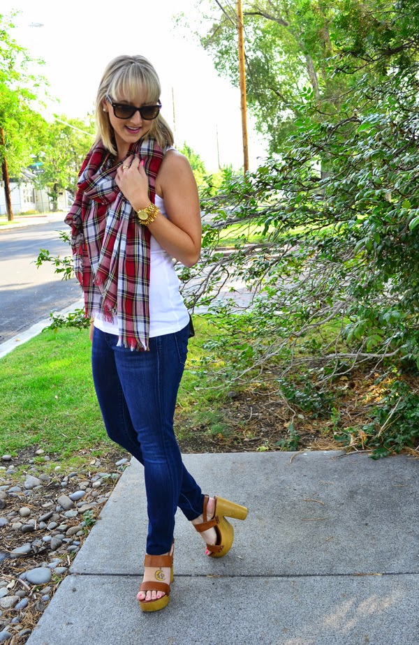 plaid scarf, fashion blogger, style blog, skinny jeans, shoemint shoes