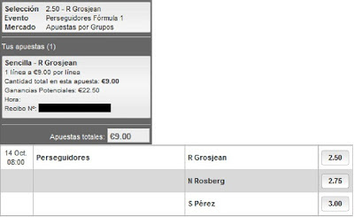 Apuestas Deportivas rosberg Formula 1 – Gran Premio de Corea Grosjean Perez lbapuestas bono gratis