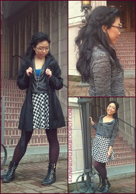 ootd houndstooth skirt
