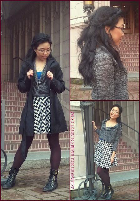 ootd houndstooth skirt