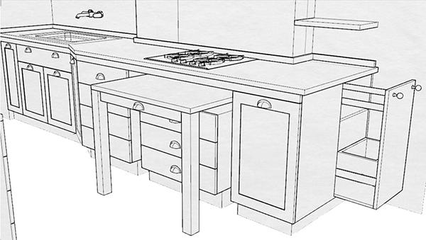 - Cucina con tavolo a scomparsa ...