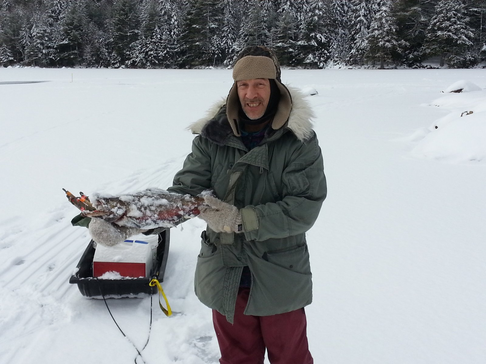 Trekking for adventure and fun ice fishing eagle lake for Acadia national park fishing