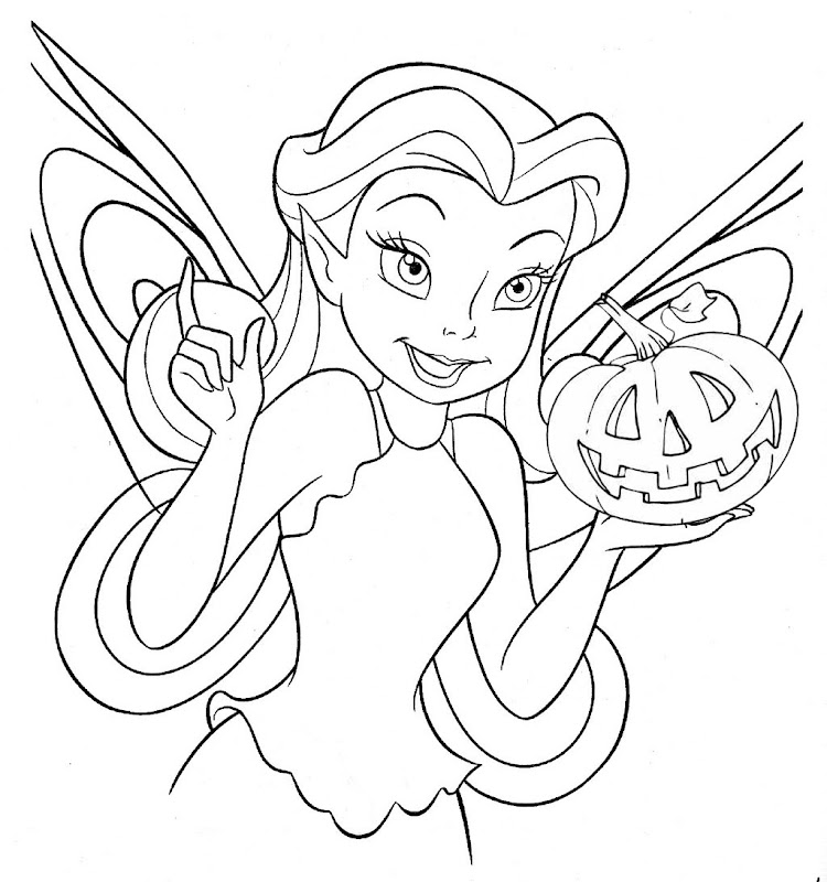 DISNEY FAIRY HALLOWEEN COLORING PAGE title=