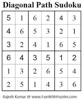 Diagonal Path Sudoku (Mini Sudoku Series #54) Solution