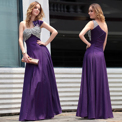 Purple One Shoulder Floor Length Dress