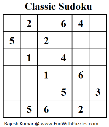 Classic Sudoku  (Mini Sudoku Series #29)