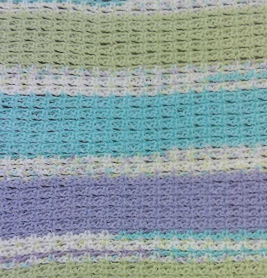 Closeup of afghan before weaving