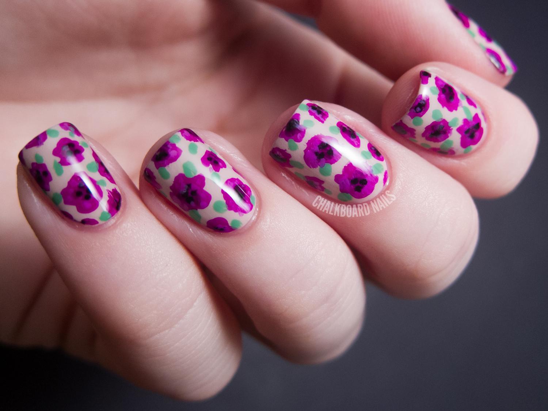 31DC2012: Day 14, Flowers (+ Tutorial)   Chalkboard Nails   Nail Art ...