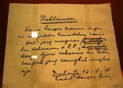 isi teks proklamasi tulisan Soekarno