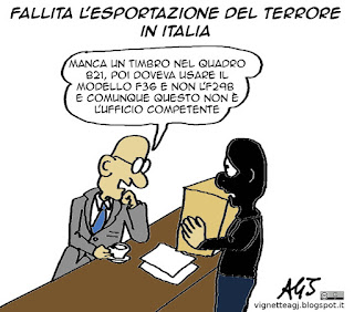 Terrore, ISIS, burocrazia, esportazione, satira vignetta