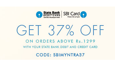 Myntra : SBI card users | 37% off onorders above Rs 1299 + Myntra cashback upto Rs 200 from buytoearn