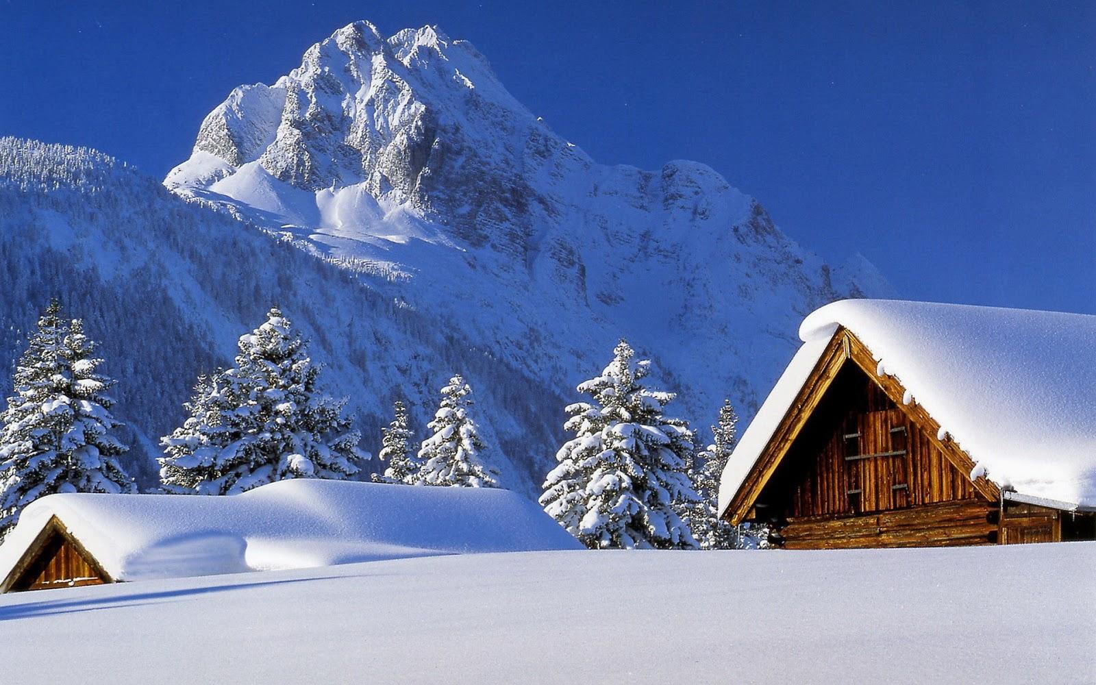 Wallpapernarium bellas caba as de invierno cubiertas de nieve suave - Cabana invierno ...