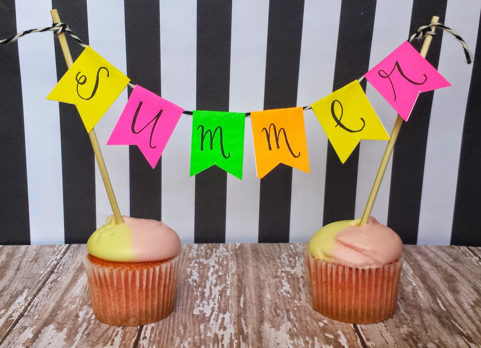 For A Fun Cupcake Or Cake Watermelon Bowl Banner I Used The Rectangle Stickers And Folded Them Over Bakers Twine Wrote SUMMER On Attached To