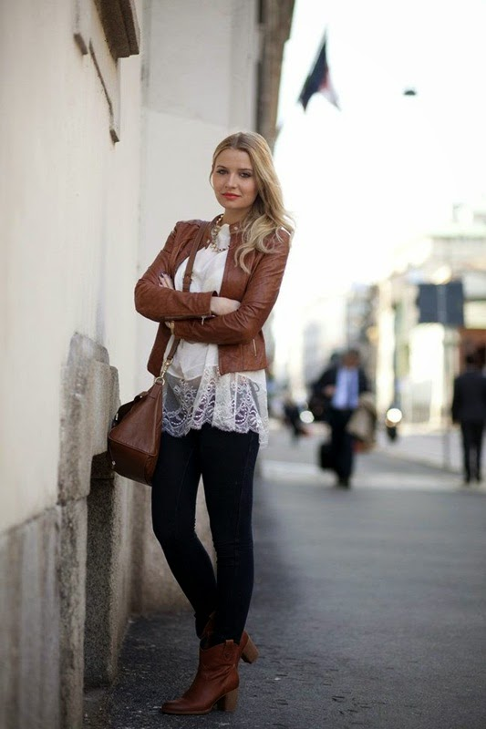 Wearing a White Lace Top with Brown Color for Stylish Spring Outfit