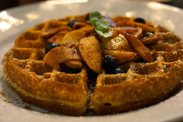 Belgium waffle with cinnamon apple and berry compote Green Eggs Cafe Philadelphia
