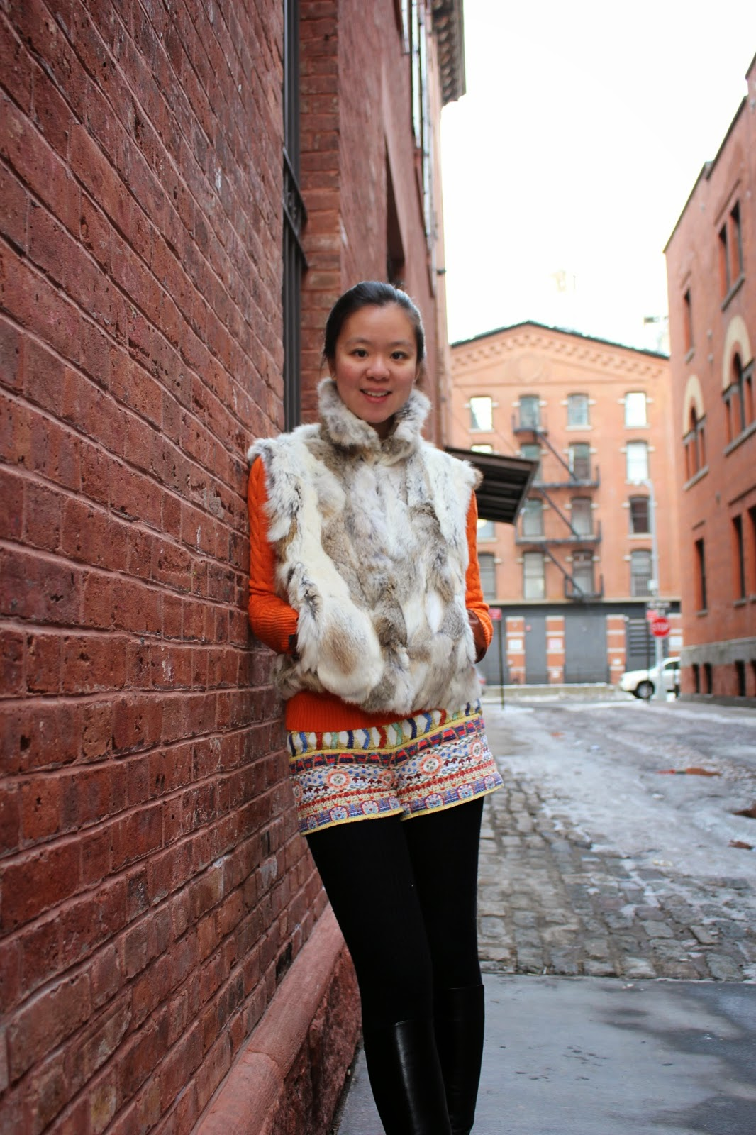 bright coloured outfit for winter tribal shorts