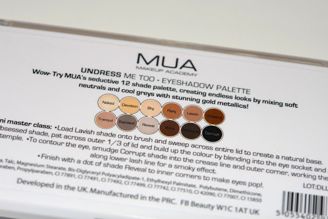 MUA Undress Me Too Palette review blog