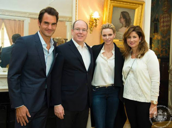 Prince Albert and Princess Charlene of Monaco along with Baroness Elizabeth-Ann de Massy and her daughter Melanie-Antoinette met with tennis legends, Mr. Roger Federer and Mr. Željko Franulović