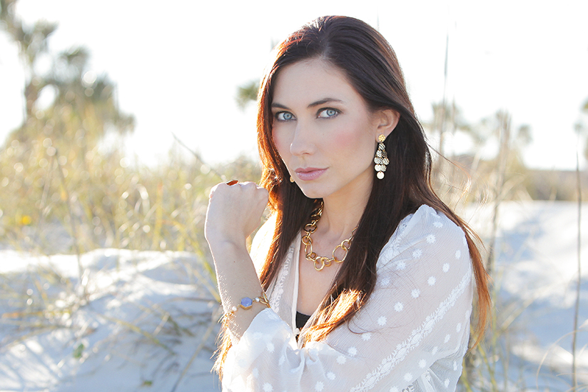 Amy West wearing Stephanie Kantis jewelry