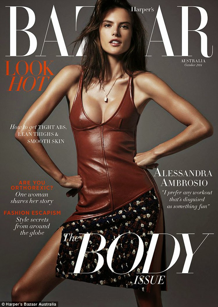 Alessandra Ambrosio flaunts curves for the Harper's Bazaar Australia October 2014 cover