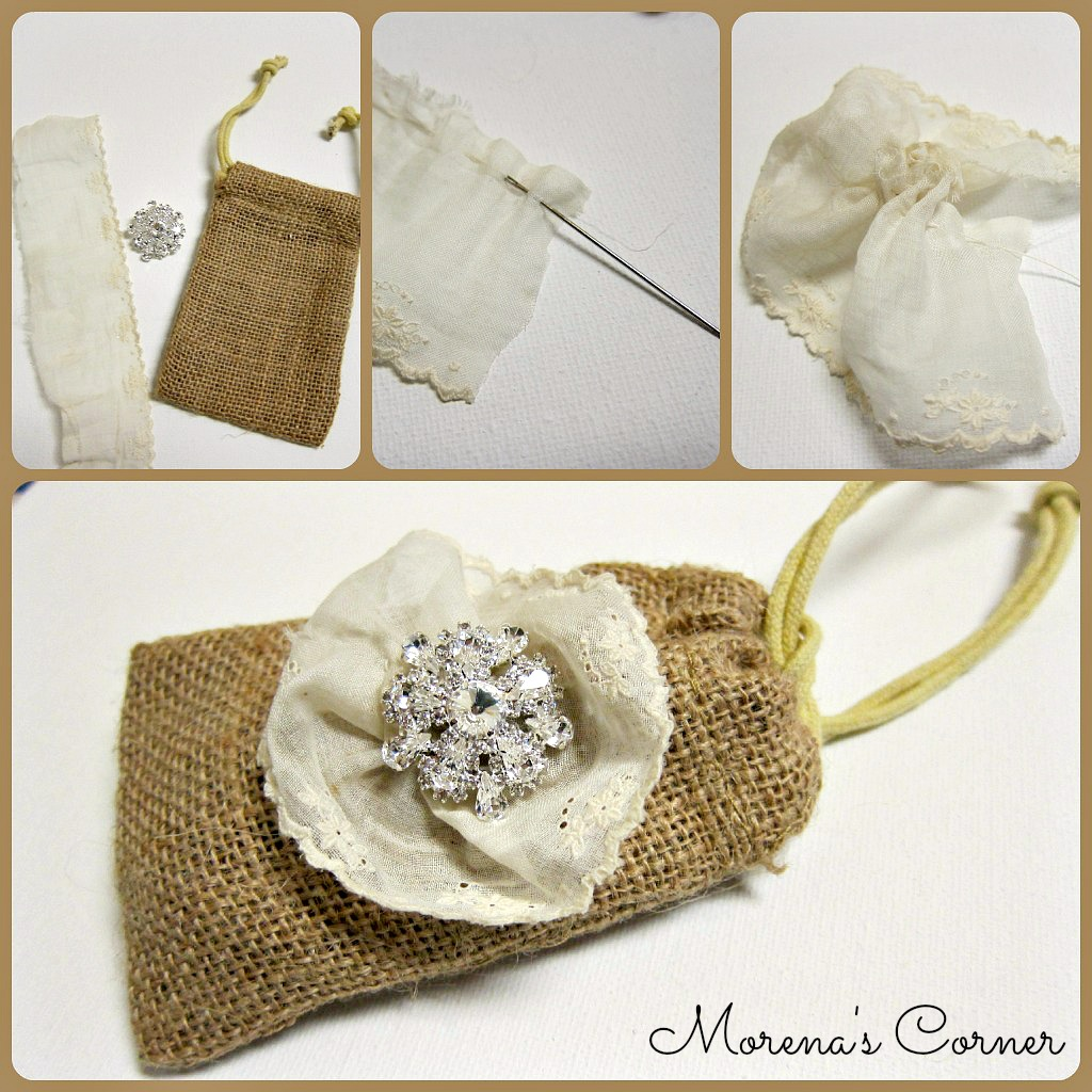 Burlap Wedding Favor Bags Diy : Step one: Cut the lace ribbon. I used vintage ribbon that I had in my ...