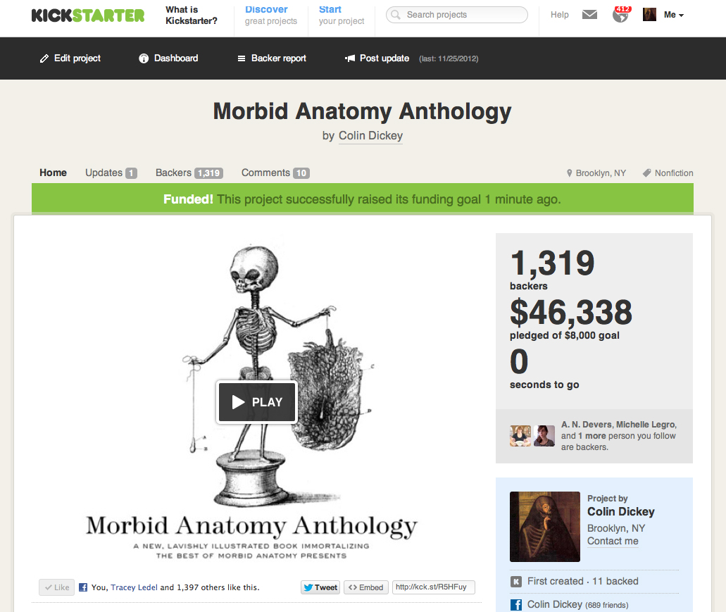 Morbid Anatomy: The Morbid Anatomy Anthology is Now Officially Funded!