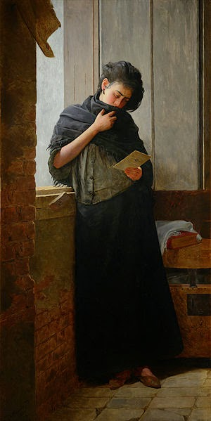 Painting, woman standing, black dress, book in hand