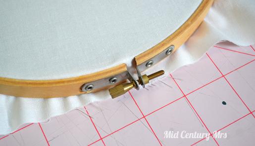 Mid century mrs embroidery hoop earring holder