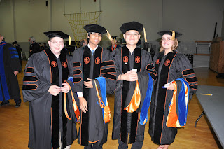 The College of Criminal Justice graduated five Ph.D.s, including (l to r) Drs. Wendy Kaye Pollock, Seksan Khruakham, Yung-Lien (Edward) Lai and Jiletta Leeannae Kubena. Not pictured is Kenneth W. Balusek.