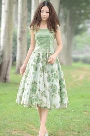 Vintage Rose Two-Tone Embroidery Lace Chiffon Midi Dress