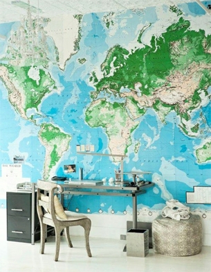 Lilyfield Life World Map Mural Walls - World map for boys room