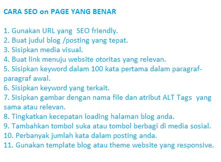 cara seo on page yang benar