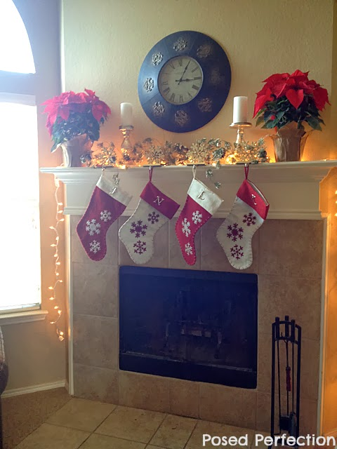 Poinsettia and Snowflakes Christmas Mantel