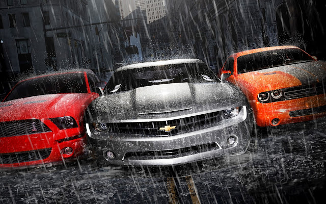 Ford Mustang Chevrolet and Dodge Muscle Cars Under Heavy Rain