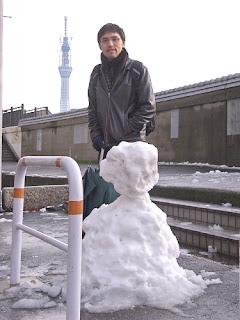 Snow man in Tokyo