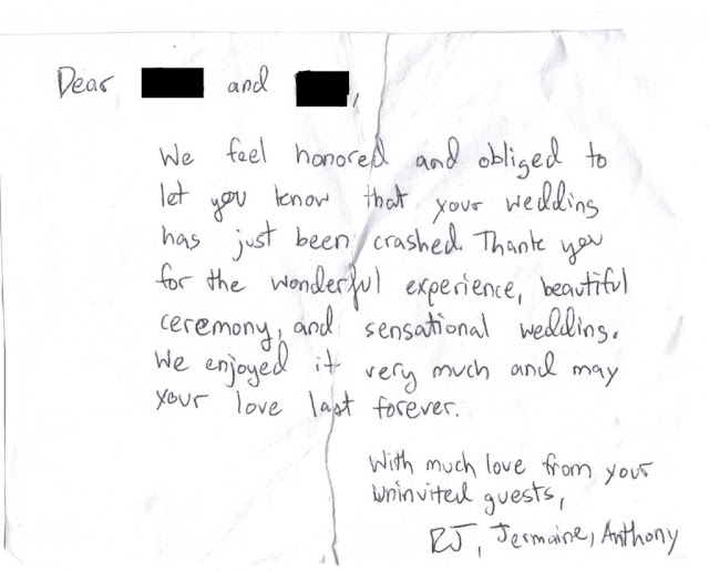 wedding crashers leave awesome thank you note for unsuspecting hosts, win, funny, awesome, funny picture