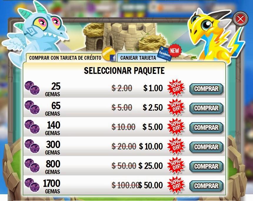 imagen de los paquetes a mitad de precio de dragon city