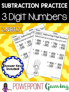 Freebie - Subtracting 3 Digit Numbers Worksheets