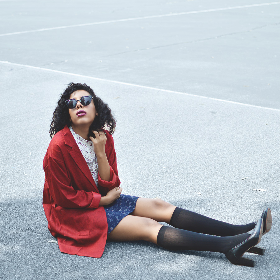 Art Hoe Blipster Indie Blogger Anais Alexandre of Down to Stars in a Rebel Prep Boarding School Girl Look
