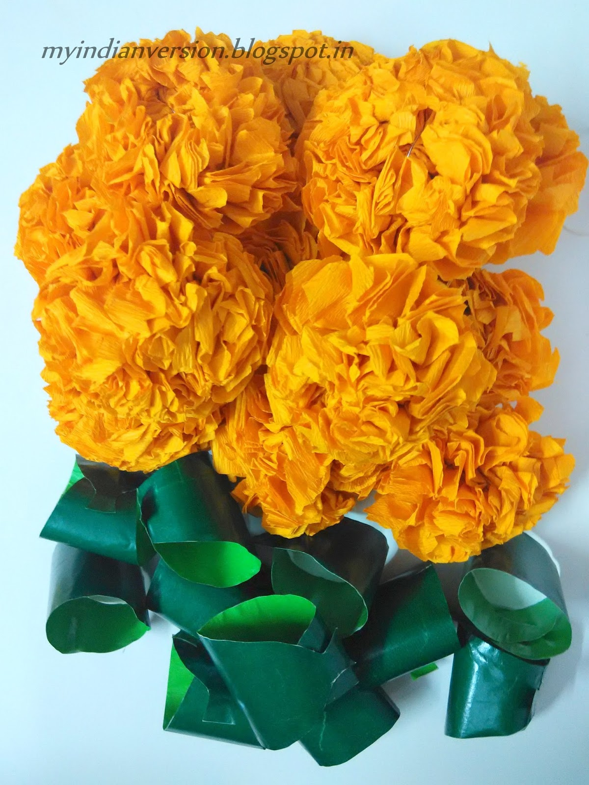 how to make artificial marigold flower